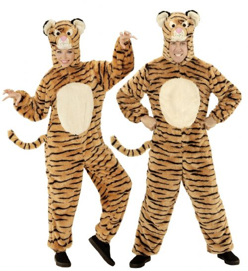 Adults Plush Tiger Costume Animal Fancy Dress